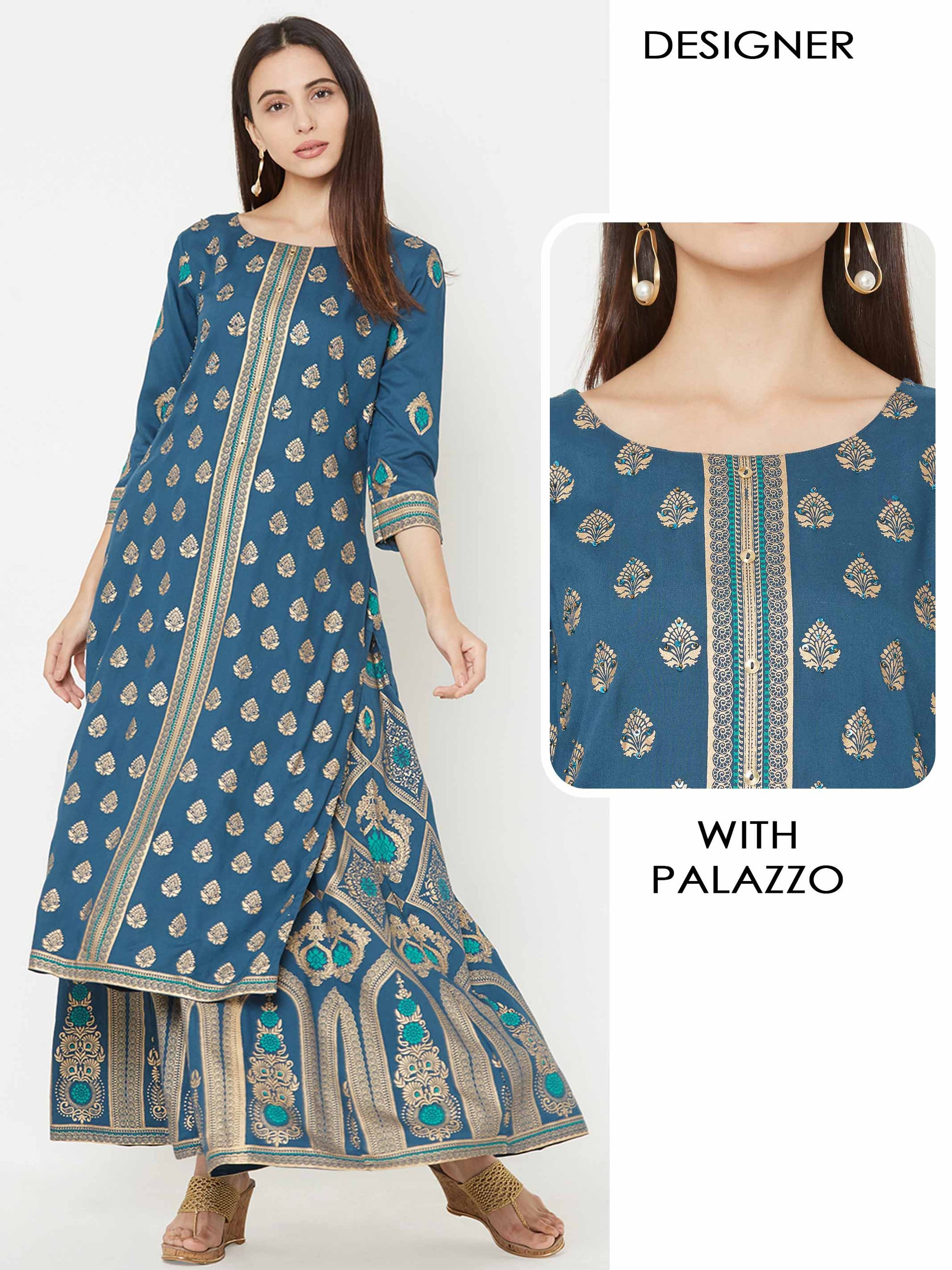 Foil Damask Printed Kurta with Similar Printed Palazzo – Teal