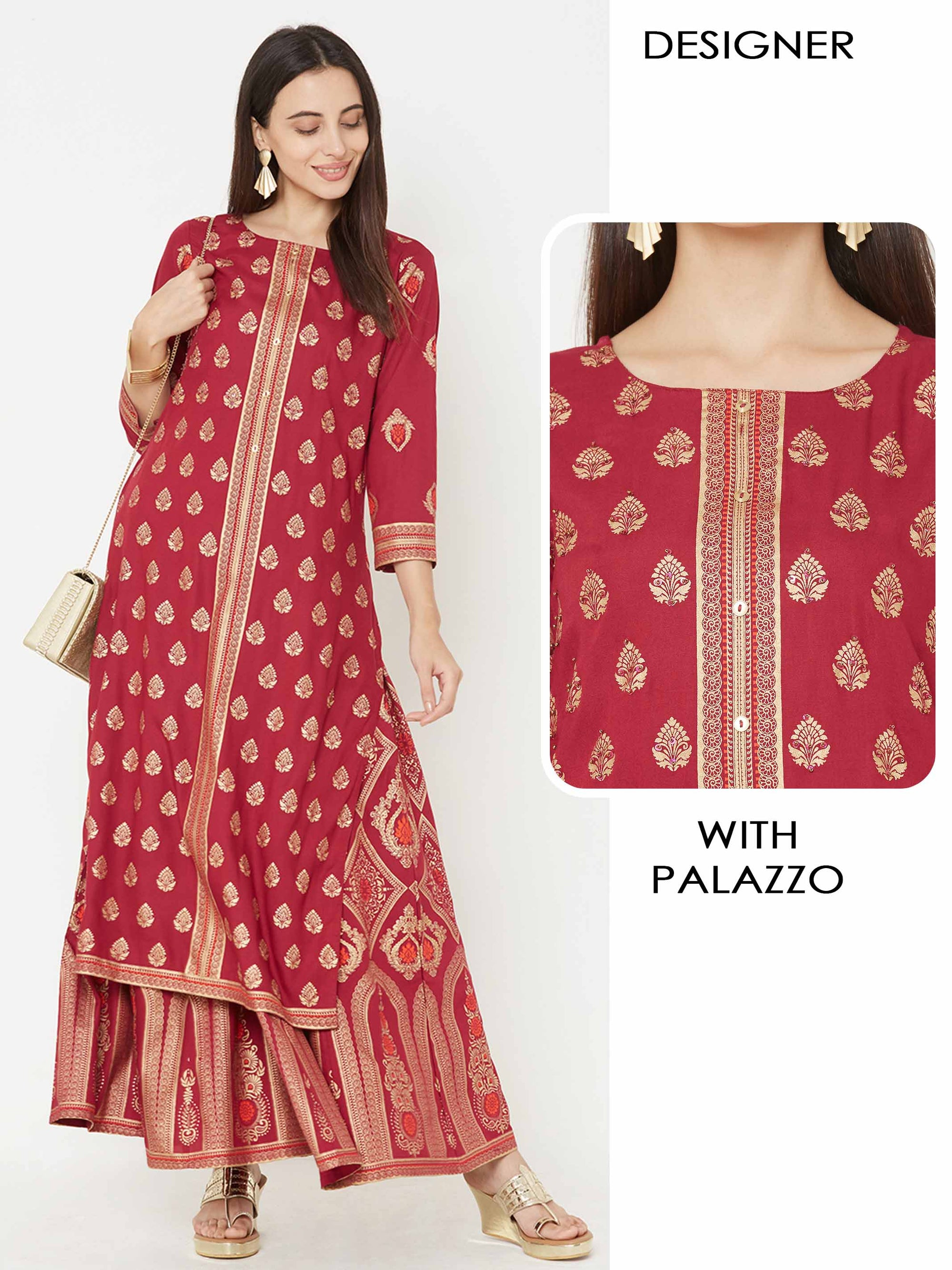 Foil Damask Printed Kurta with Similar Printed Palazzo – Berry Pink