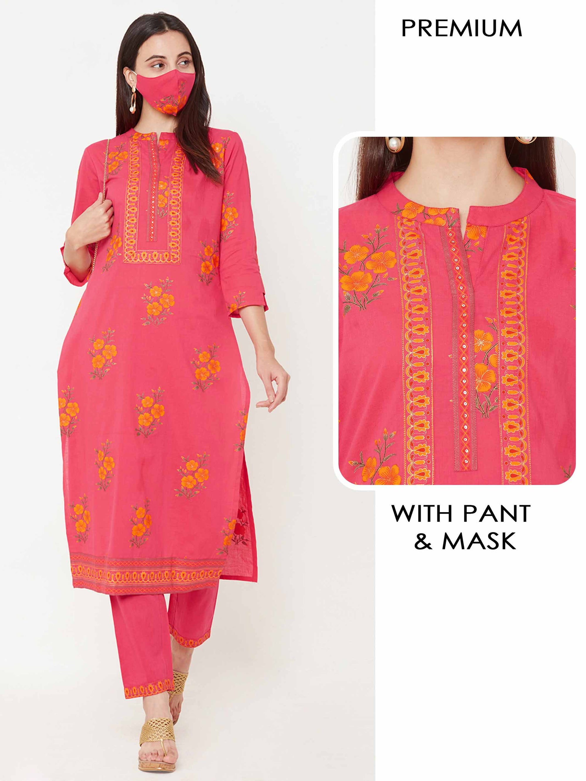 Floral Printed Kurta with Solid Ankle Pant with Matching Mask – Bright Pink