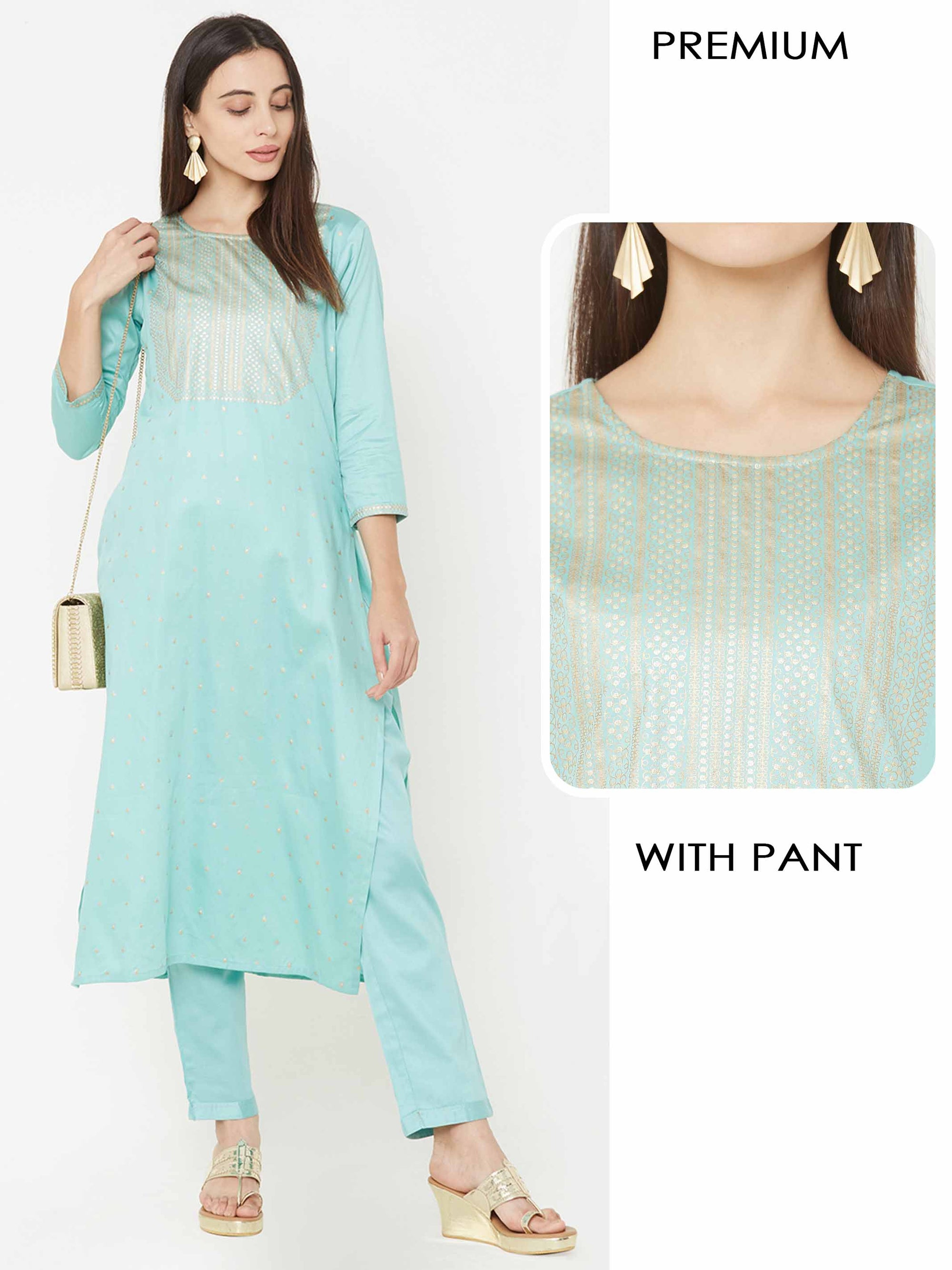 Foil Printed Kurta with Solid Ankle Pant – Sea Green