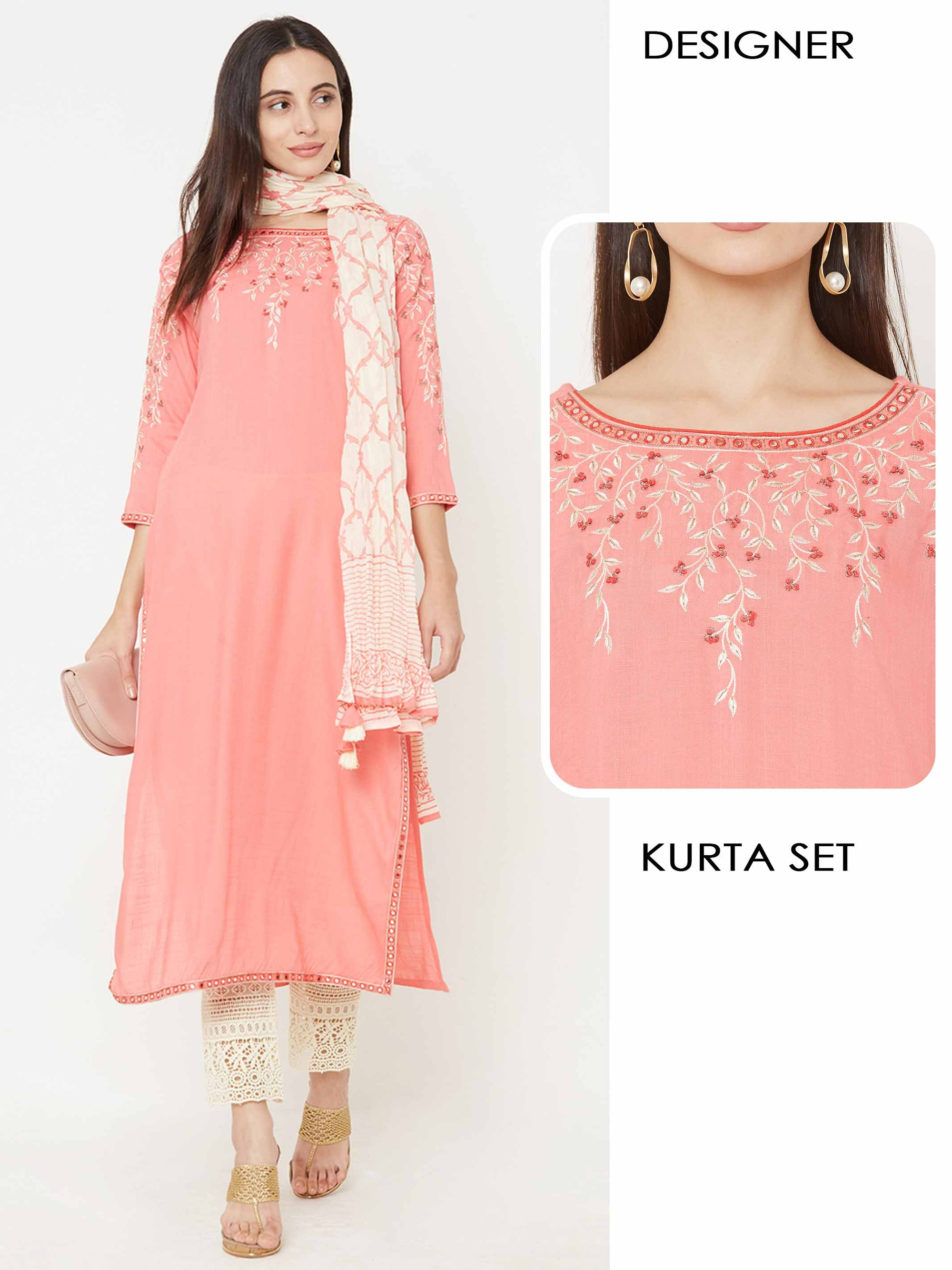 Floral Embroidered Kurta with Schiffli Embroidered Pant with Printed Dupatta - Melon Pink