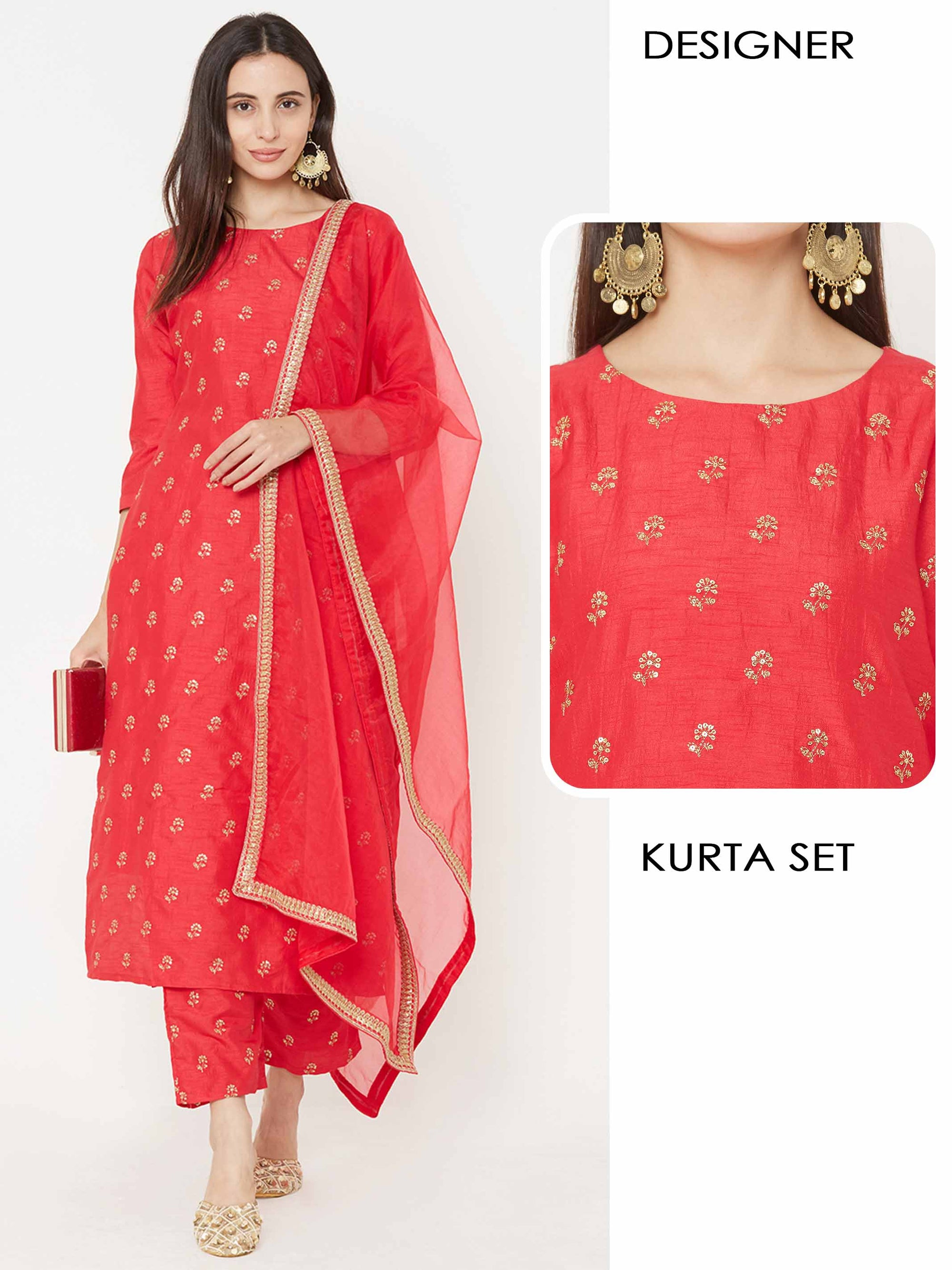 Floral Embroidered Kurta with Embroidered Ankle Pant & Embroidered Lace Dupatta – Cherry Pink