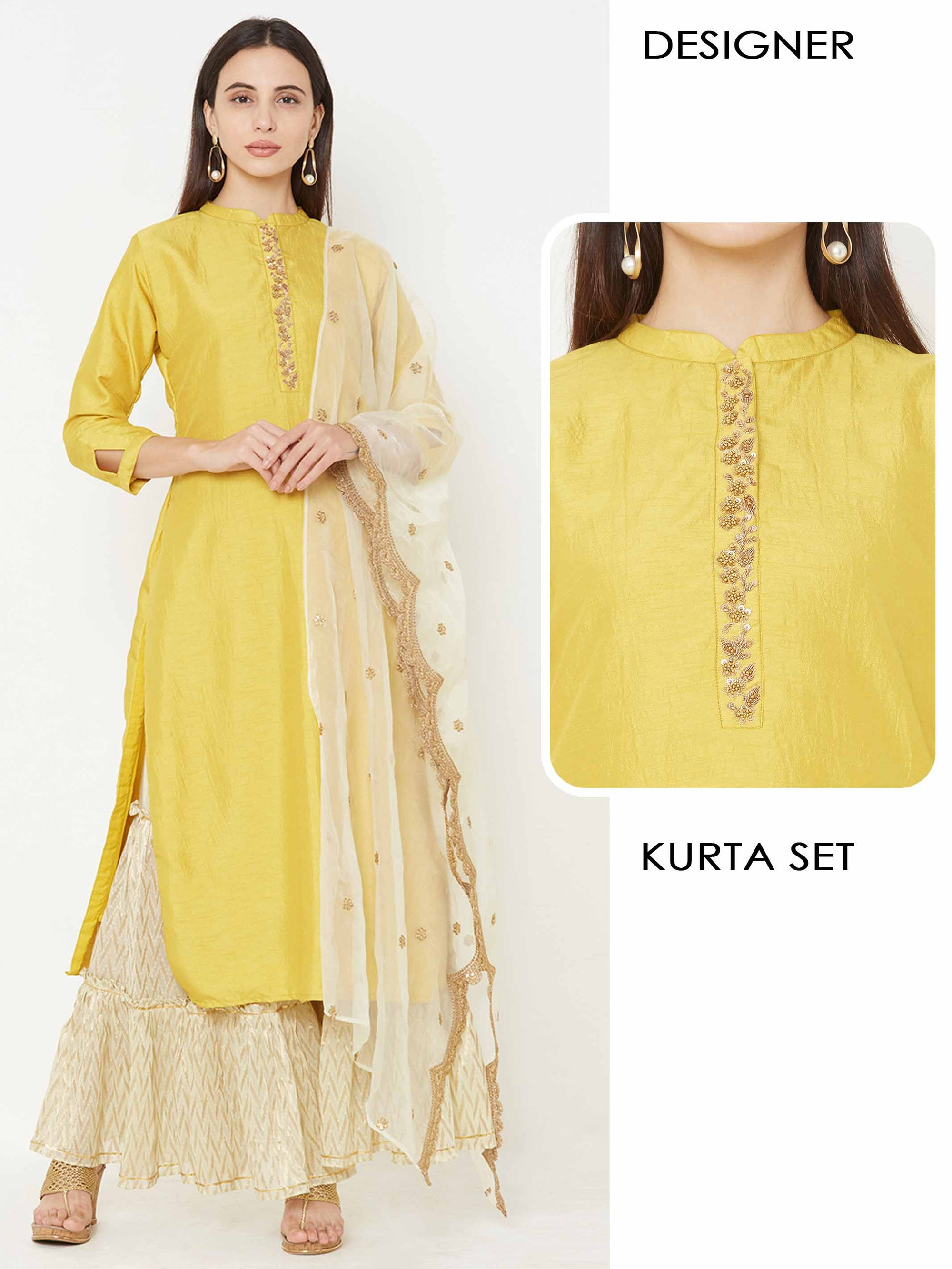 Embroidered Placket Kurta with woven design Sharara with Embroidered Scale up Dupatta – Mustard