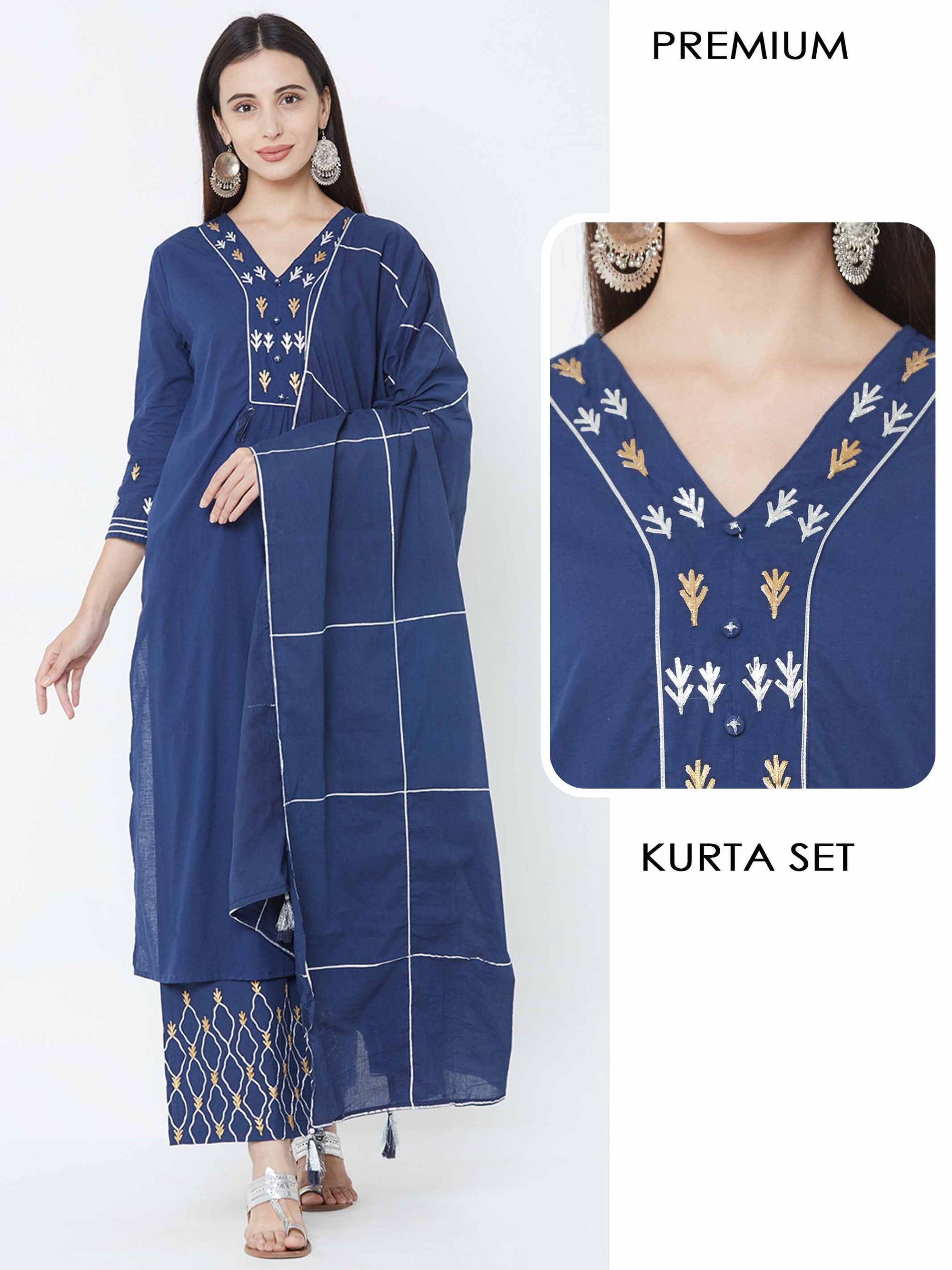 Golden & Silver Gota embellished Kurta with Gota worked Palazzo and Dupatta – Navy Blue