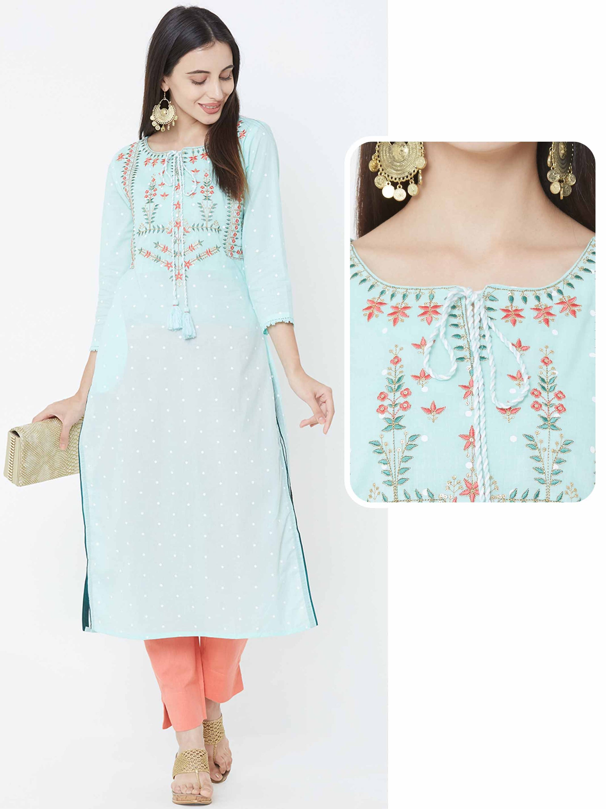 Polka Dots Khari Printed & Embroidered Yoke Kurta – Sea Green
