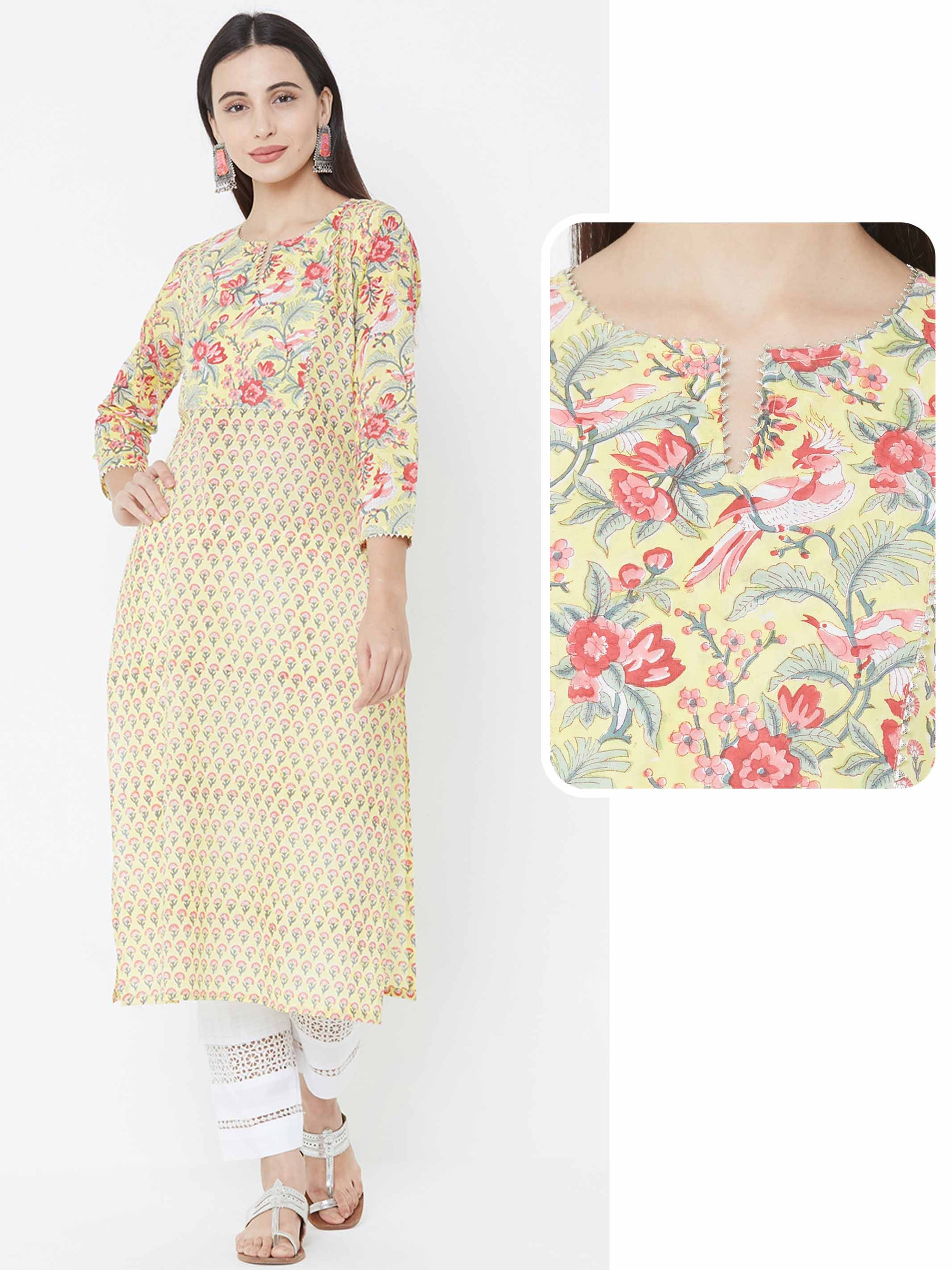Floral Mix Printed Straight Kurta – yellow