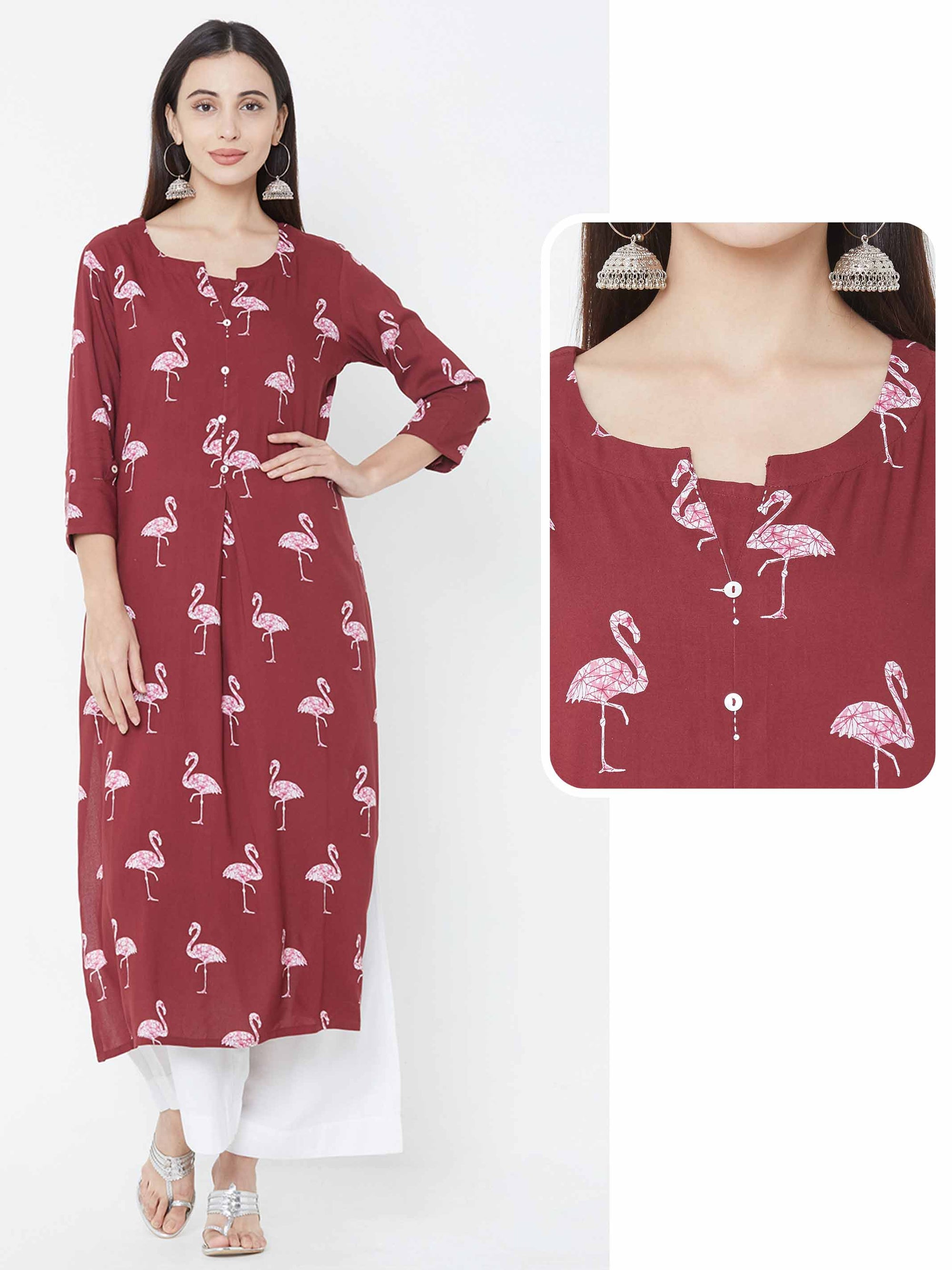 Bird Printed Straight Kurta - Maroon