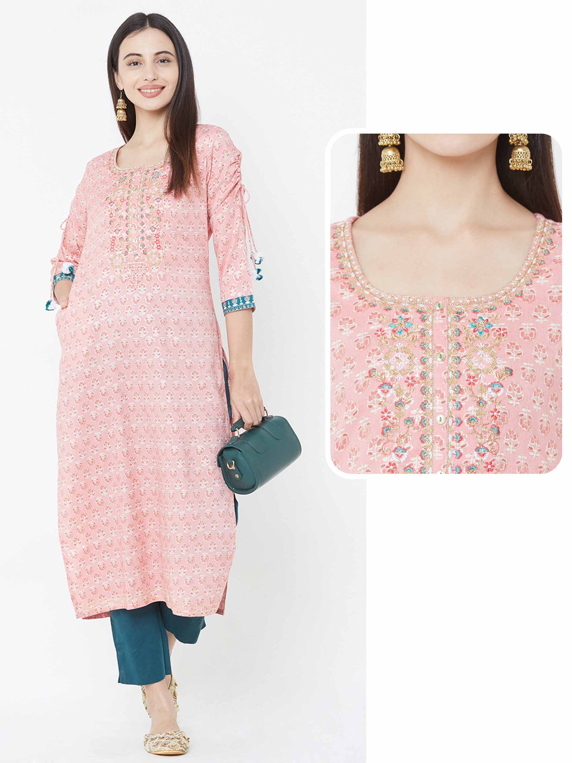 Floral & Foil Printed & Embroidered Yoke Kurta – Pink