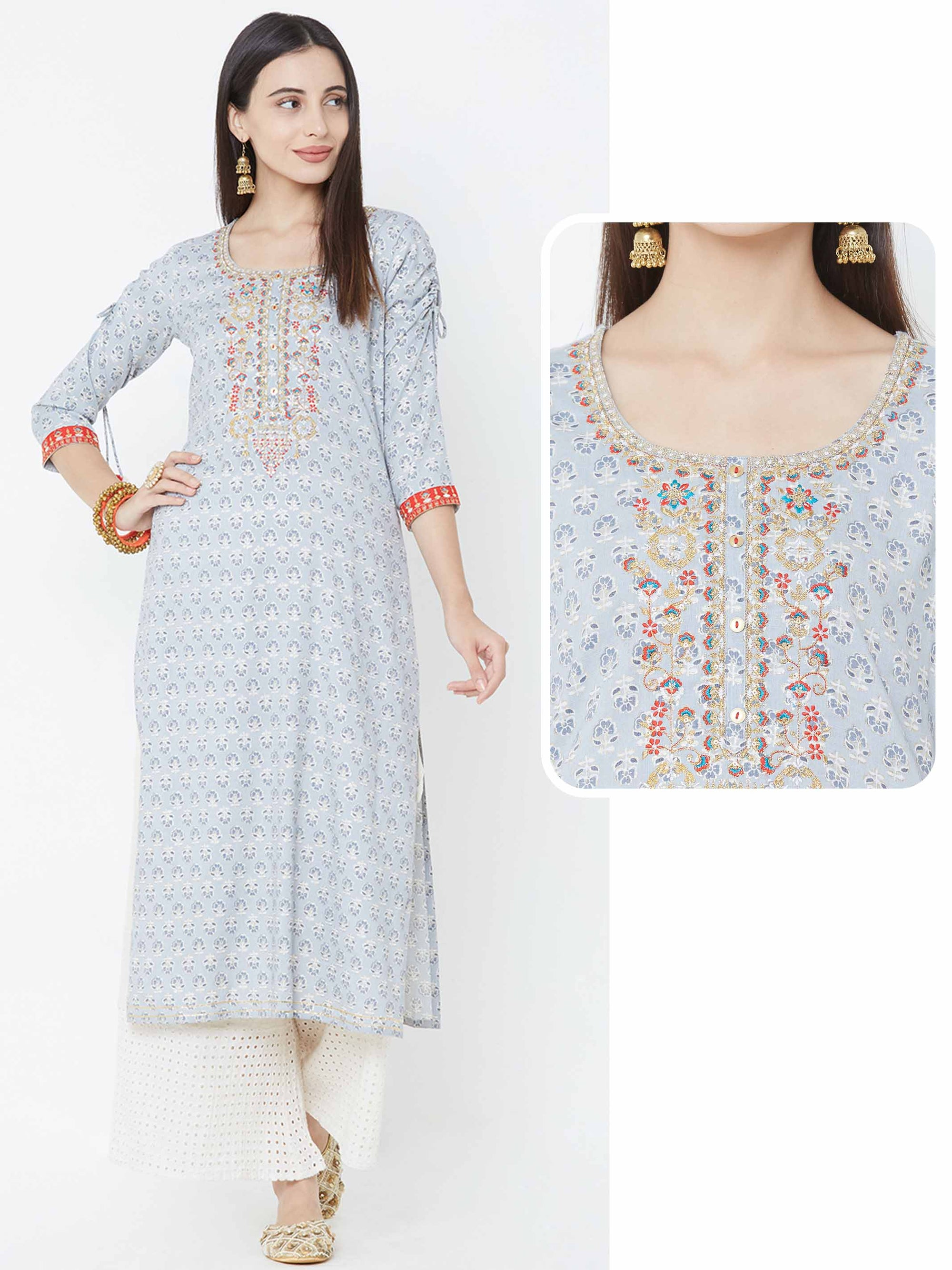 Floral & Foil Printed & Embroidered Yoke Kurta – Grey