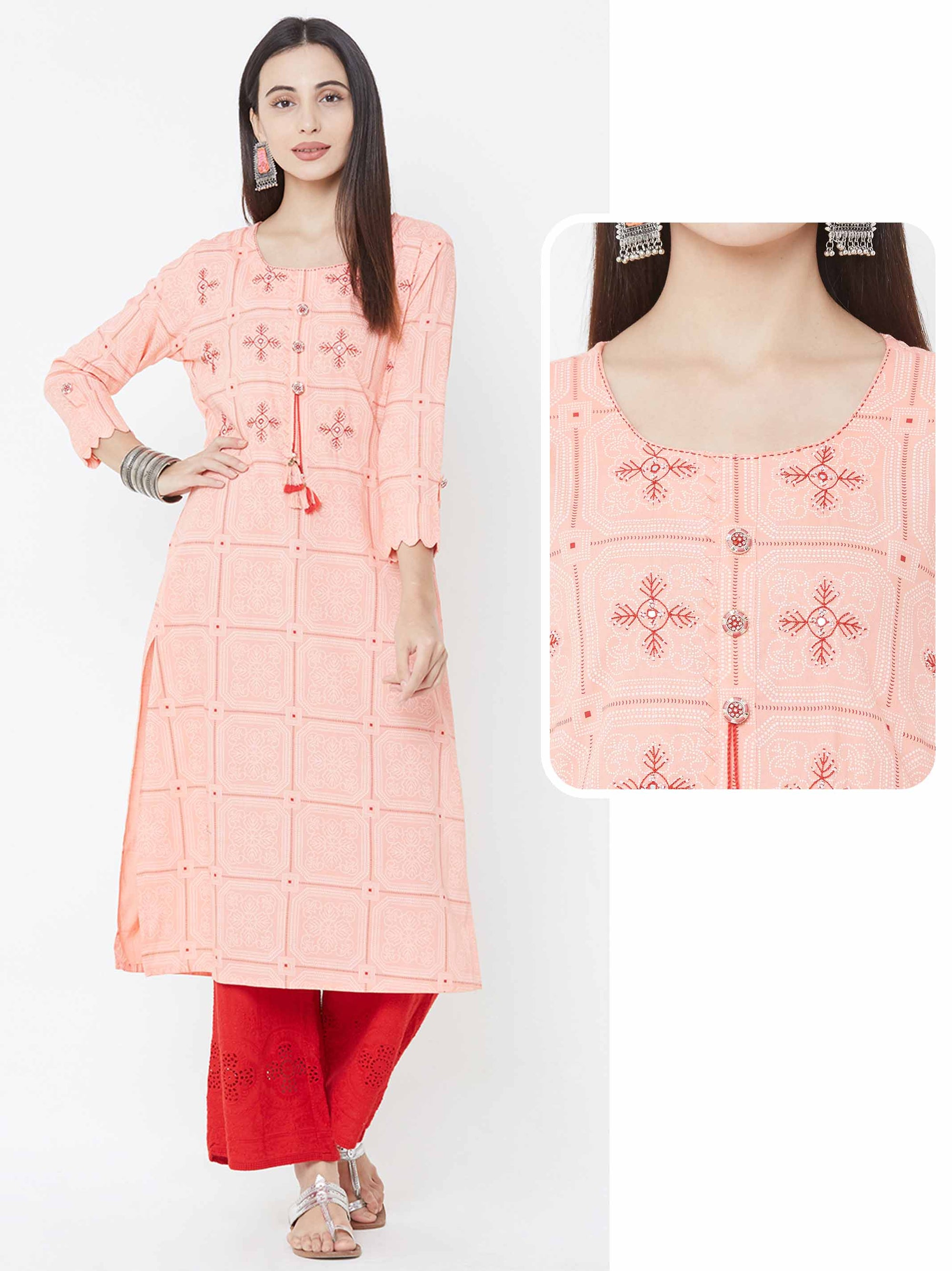 Mandala Pattern Khari Printed & Embroidered Kurta – Peach