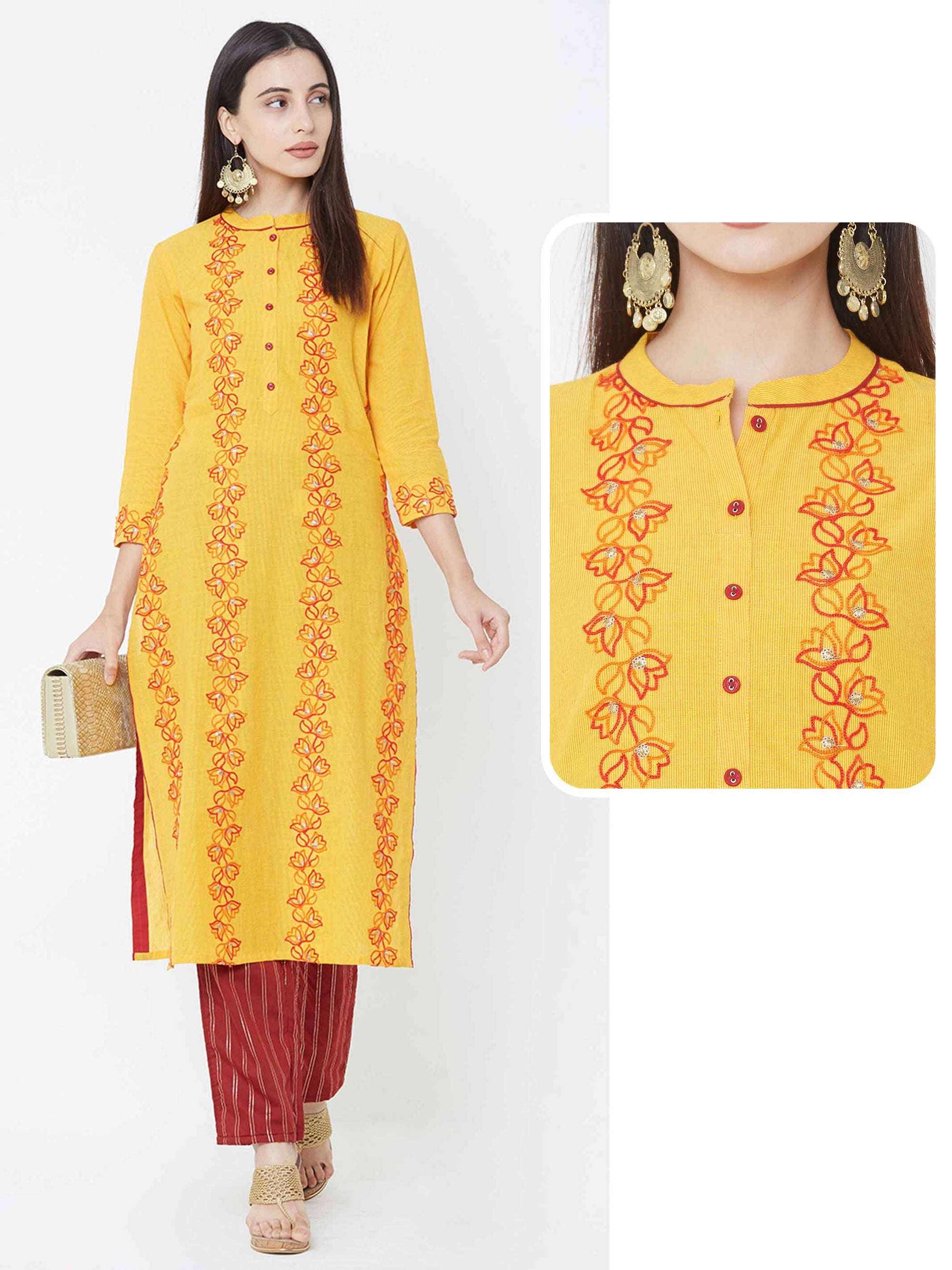 Floral Embroidered Stripes over Woven stripes Kurta – Mustard