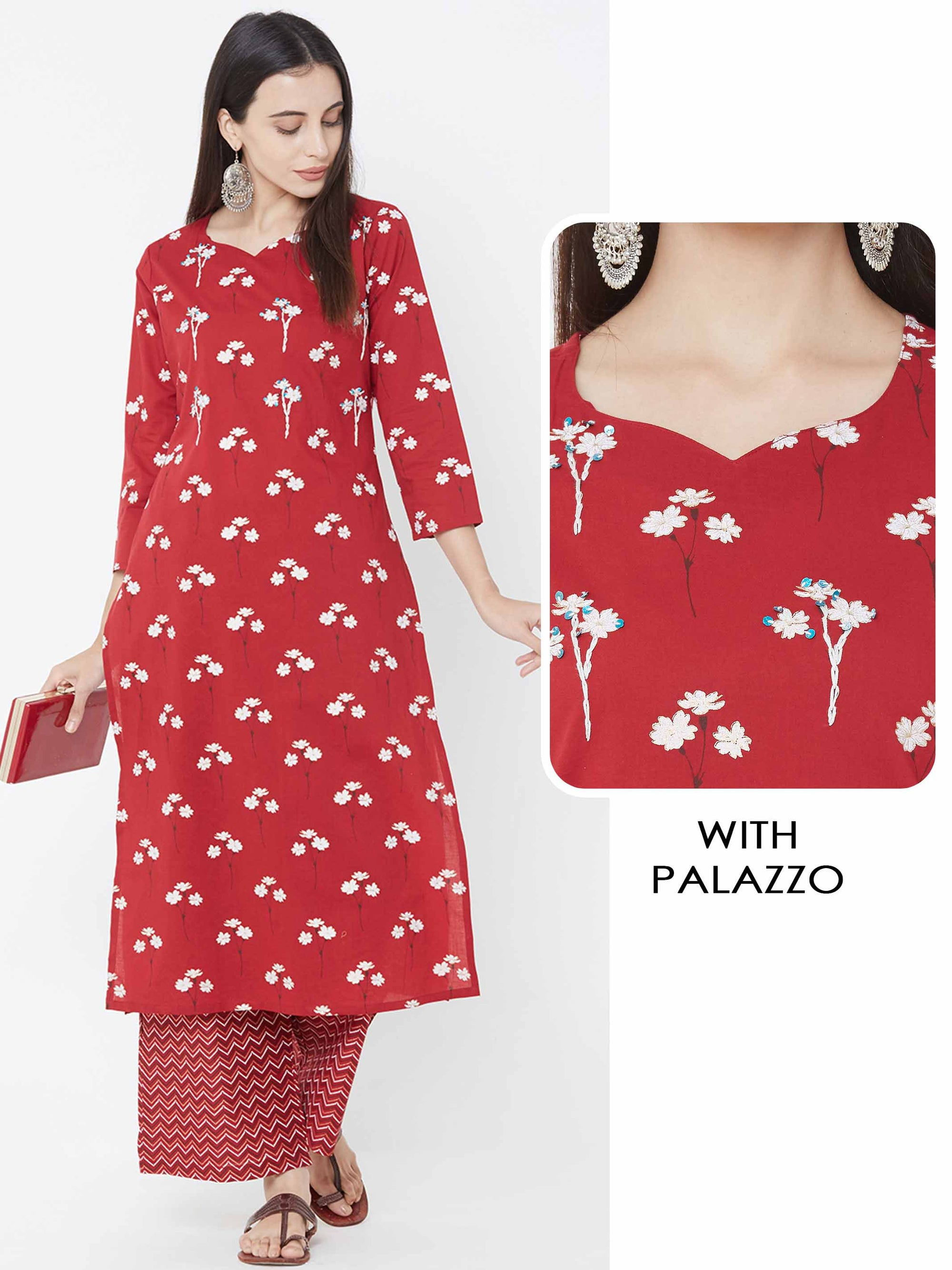 Floral Foil Printed Kurta with Chevron Printed Palazzo – Red