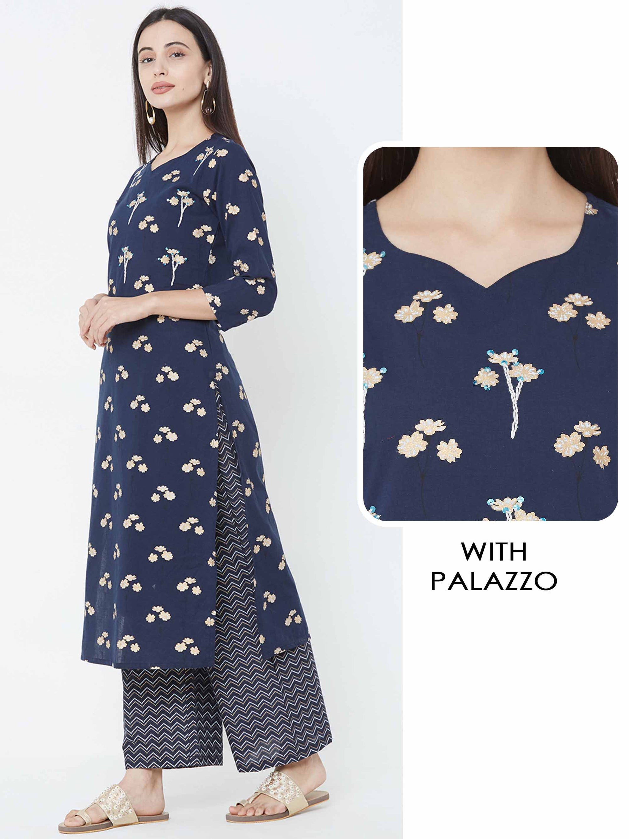 Floral Foil Printed Kurta with Chevron Printed Palazzo – Blue