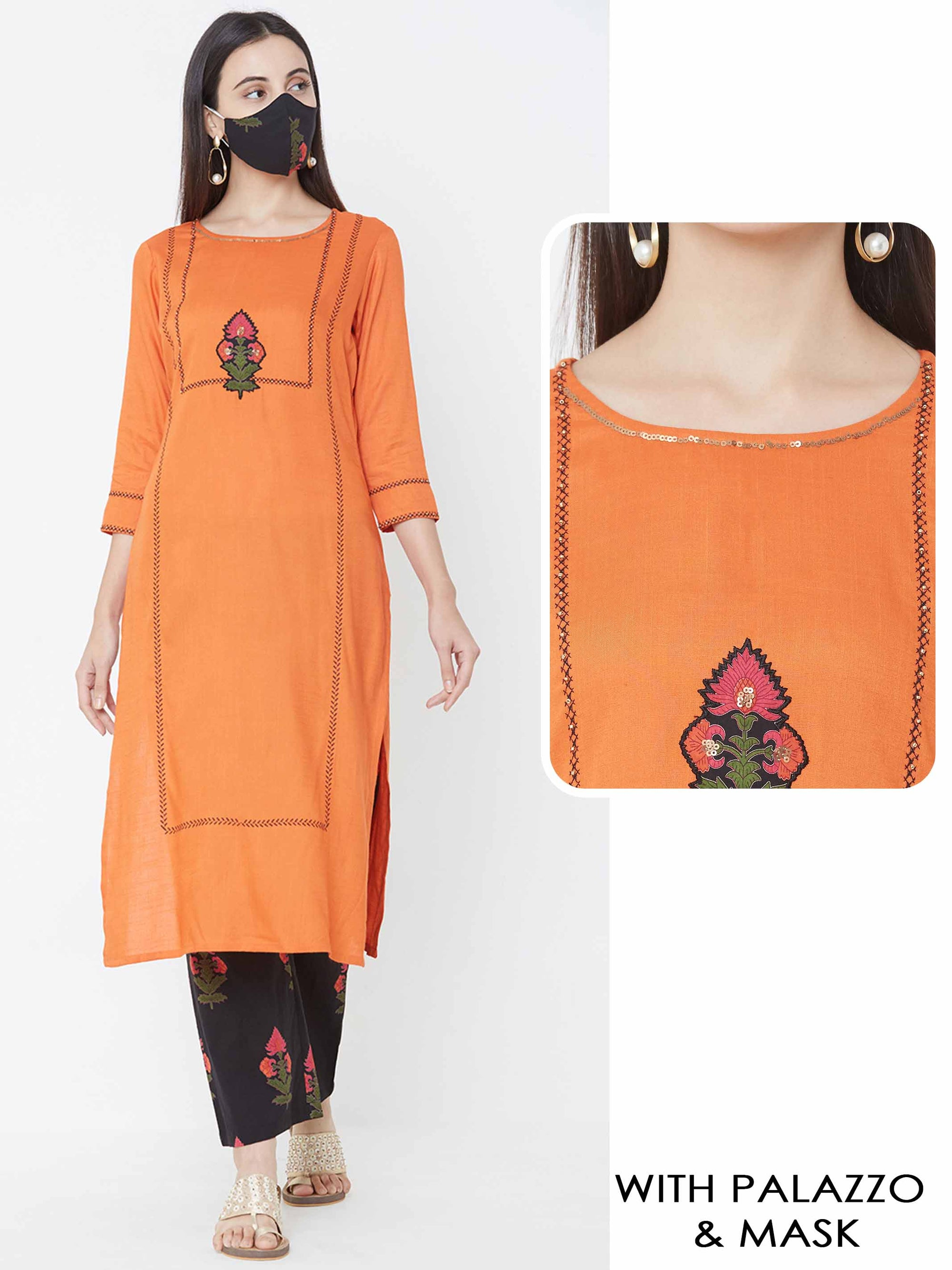 Floral Applique & Embroidered Kurta with Floral Printed Palazzo - Orange