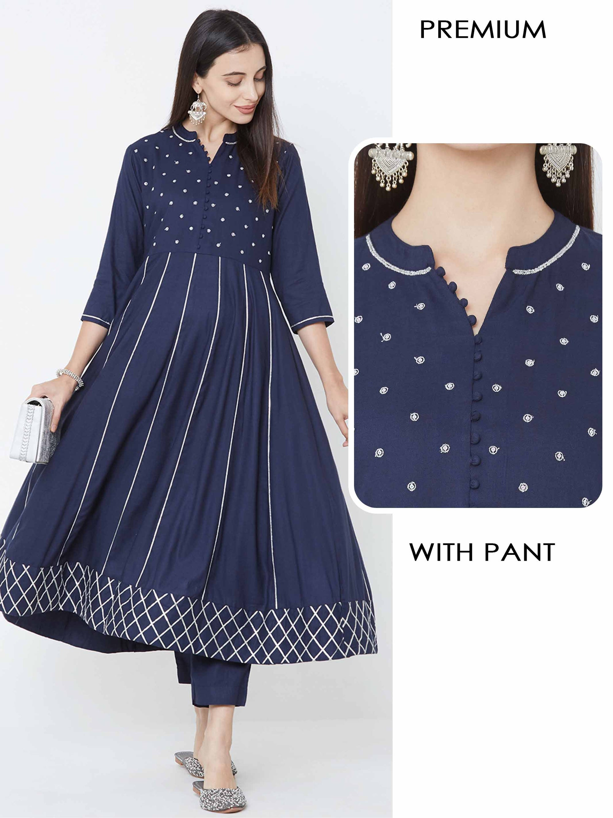 Silver Zari & Gota Embellished Kurta with Solid Matching Pant – Navy Blue