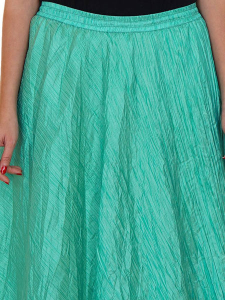 Flared Pre-Crushed Art Silk Skirt - Sea Green