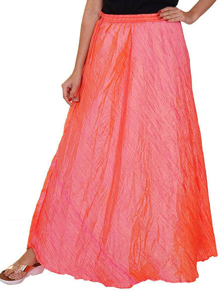 Flared Pre-Crushed Art Silk Skirt -  Peach Two Toned
