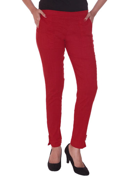Fitted Buttoned Cotton Pants -  Red