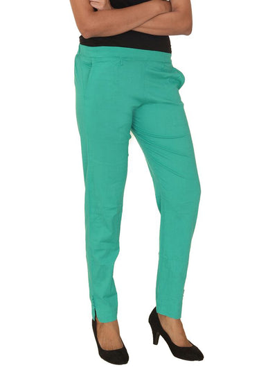 Fitted Buttoned Cotton Pants - Sea Green