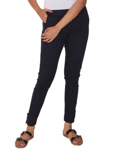 Fitted Buttoned Cotton Pants - Navy Blue