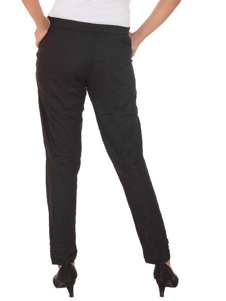 Fitted Buttoned Cotton Pants -  Black