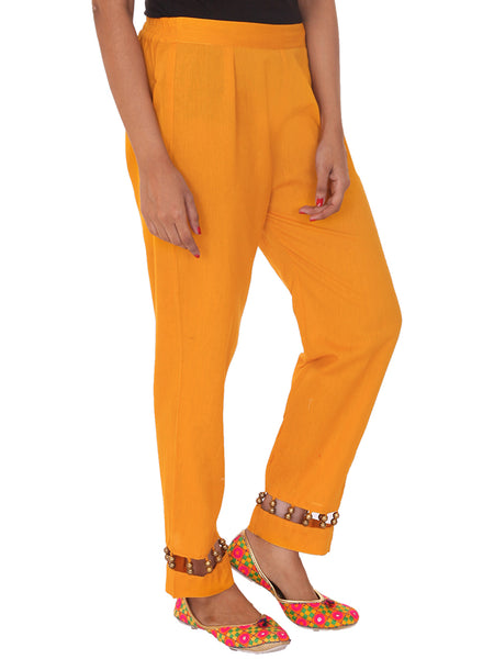 Golden Beaded Cotton Pants-Yellow