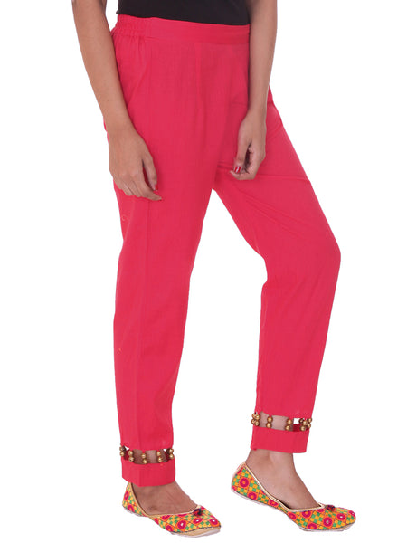 Golden Beaded Cotton Pants - Fuchsia