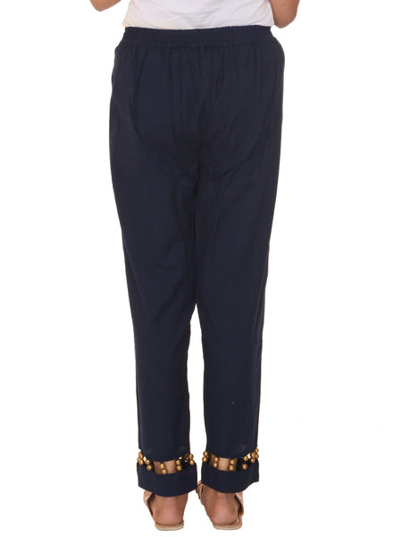 Golden Beaded Cotton Pants-Blue
