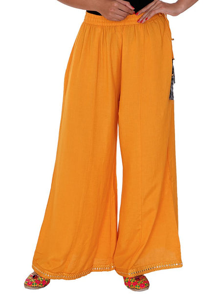 Resham & Foil Mirror Work Palazzo Pants - Turmeric Yellow