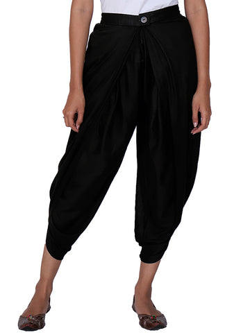 Pleated & Overlapped Premium Rayon Dhoti Pants - Black