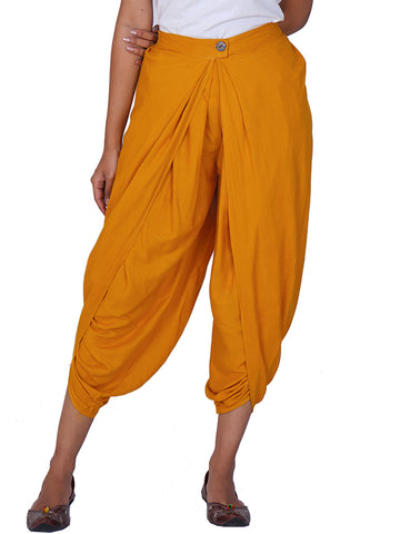Pleated & Overlapped Premium Rayon Dhoti Pants - Mustard Yellow