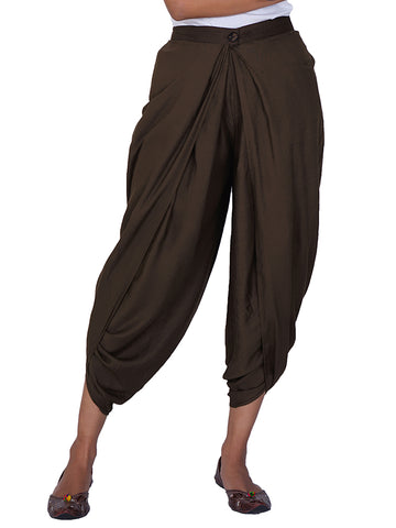 Pleated & Overlapped Premium Rayon Dhoti Pants - Coffee Brown