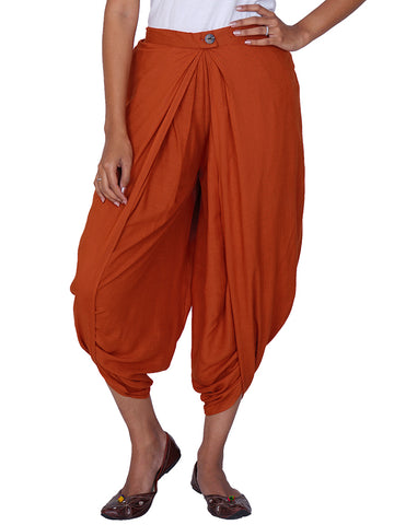 Pleated & Overlapped Premium Rayon Dhoti Pants - Rust Orange
