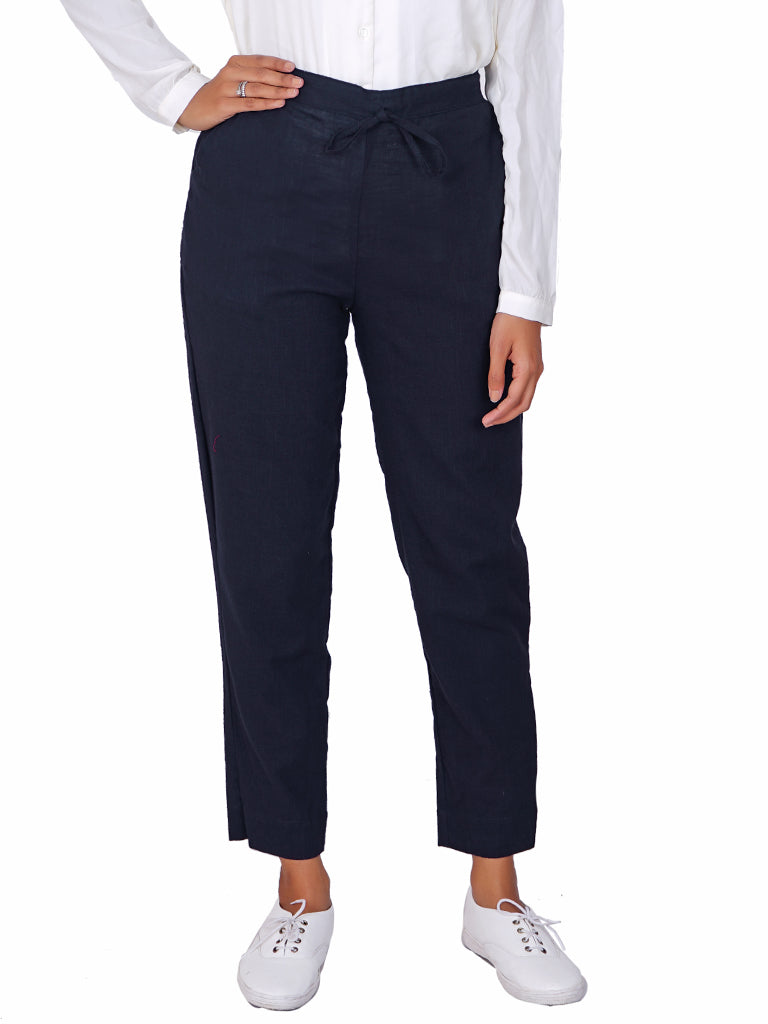 Tapered Comfort Fit Slub Cottons Pants - Navy Blue