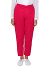 Tapered Comfort Fit Slub Cottons Pants - Pink