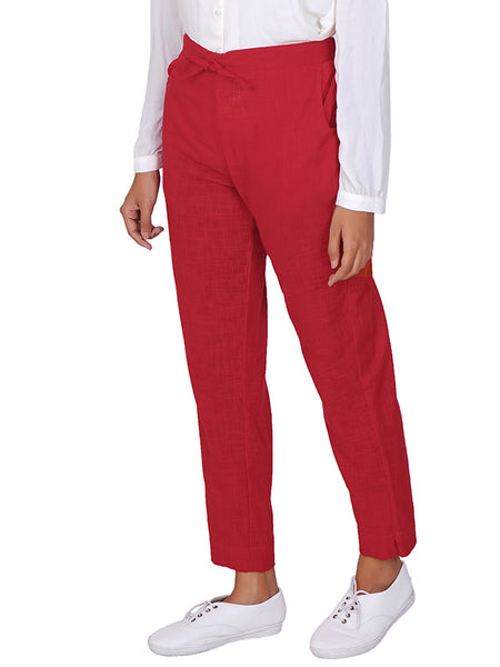 Tapered Comfort Fit Slub Cottons Pants - Red