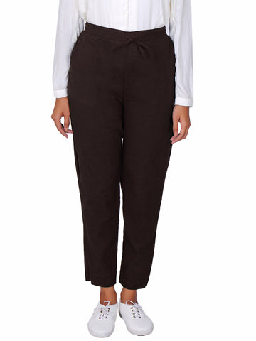 Tapered Comfort Fit Slub Cottons Pants - Brown