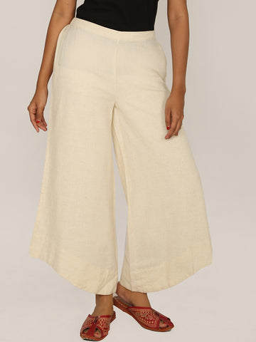 U-Shaped Hem Cotton Handloom Flared Pants