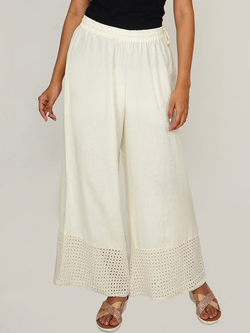 Schiffli Cutwork Embroidered Hem Palazzo Pants - Off-White