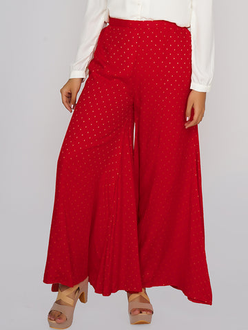 Polka Printed Panelled Palazzo Pants - Red