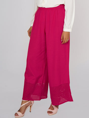 Schiffli Cutwork Embroidered Hem Palazzo Pants