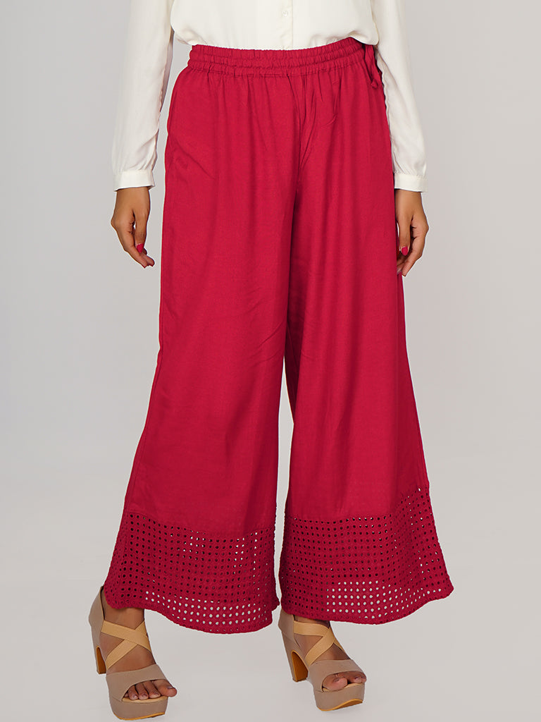 Hakoba Cutwork Embroidered Hem Palazzo Pants - Dark Red