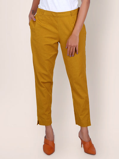 Tapered Comfort Fit Cottons Handloom Pants – Yellow