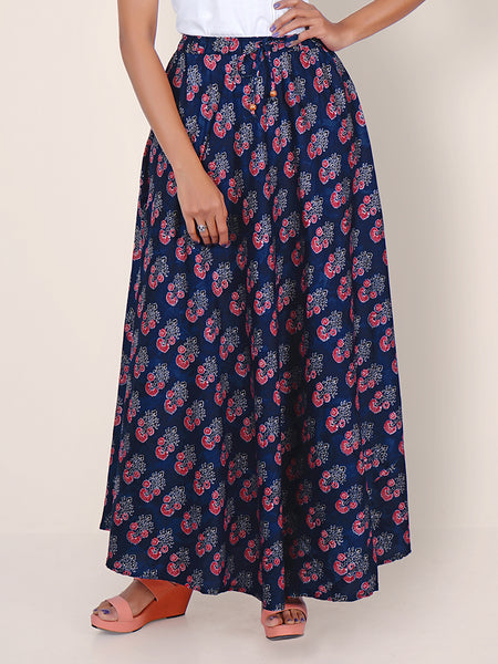 Floral Block Printed Flared Cotton-Satin Skirt