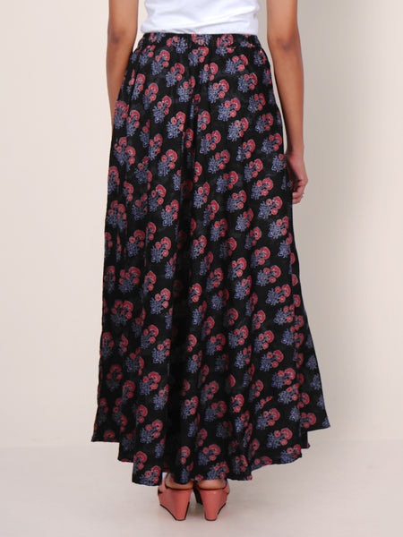 Floral Block Printed Flared Cotton-Satin Skirt - Black