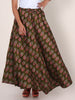 Floral Block Printed Flared Cotton-Satin Skirt - Olive Brown