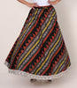 Floral Resham Work & Wooden Beaded Khadi Printed Cotton Skirt