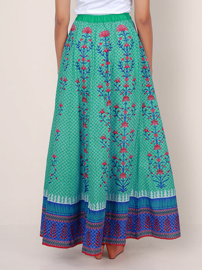 Tile & Floral Baile Printed Kalidaar Cotton Skirt - Sea Green