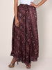 Gota Lace & Wooden Beads Work Printed Skirt - Amaranth