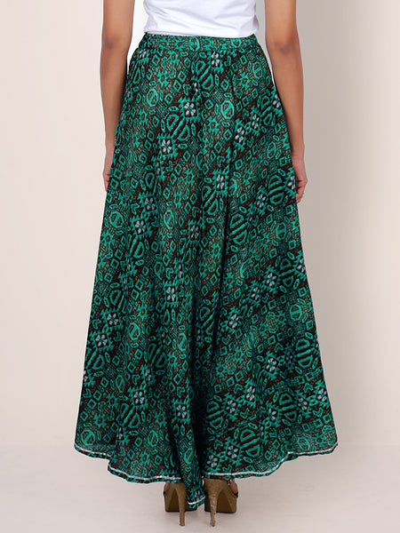 Gota Lace & Wooden Beads Work Printed Skirt